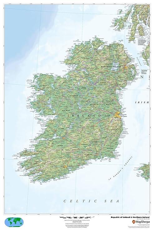 Republic Of Ireland And Northern Ireland Map.Amazon Com Republic Of Ireland Northern Ireland 24 X 36 Paper