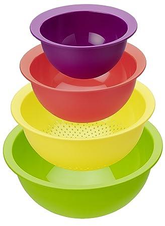 "Rotho Küchenset ""Caruba"" - 4-farbiges Set aus 3 Rührschüsseln und ... | {Rührschüsseln 39}"