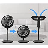 Energy Efficient Pedestal 12-inch Quiet 3 speed Floor Fan Adjustable Height – Whole Room Air Circulator