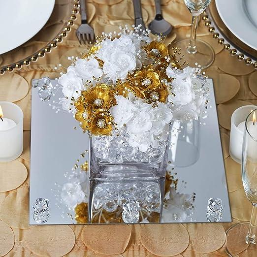 Tableclothsfactory Espejo cuadrado de cristal de 25,4 cm para boda ...
