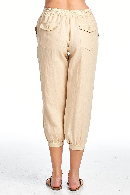 High Style Womens Casual 100/% Linen Narrow Leg Capri Pants with Drawstring