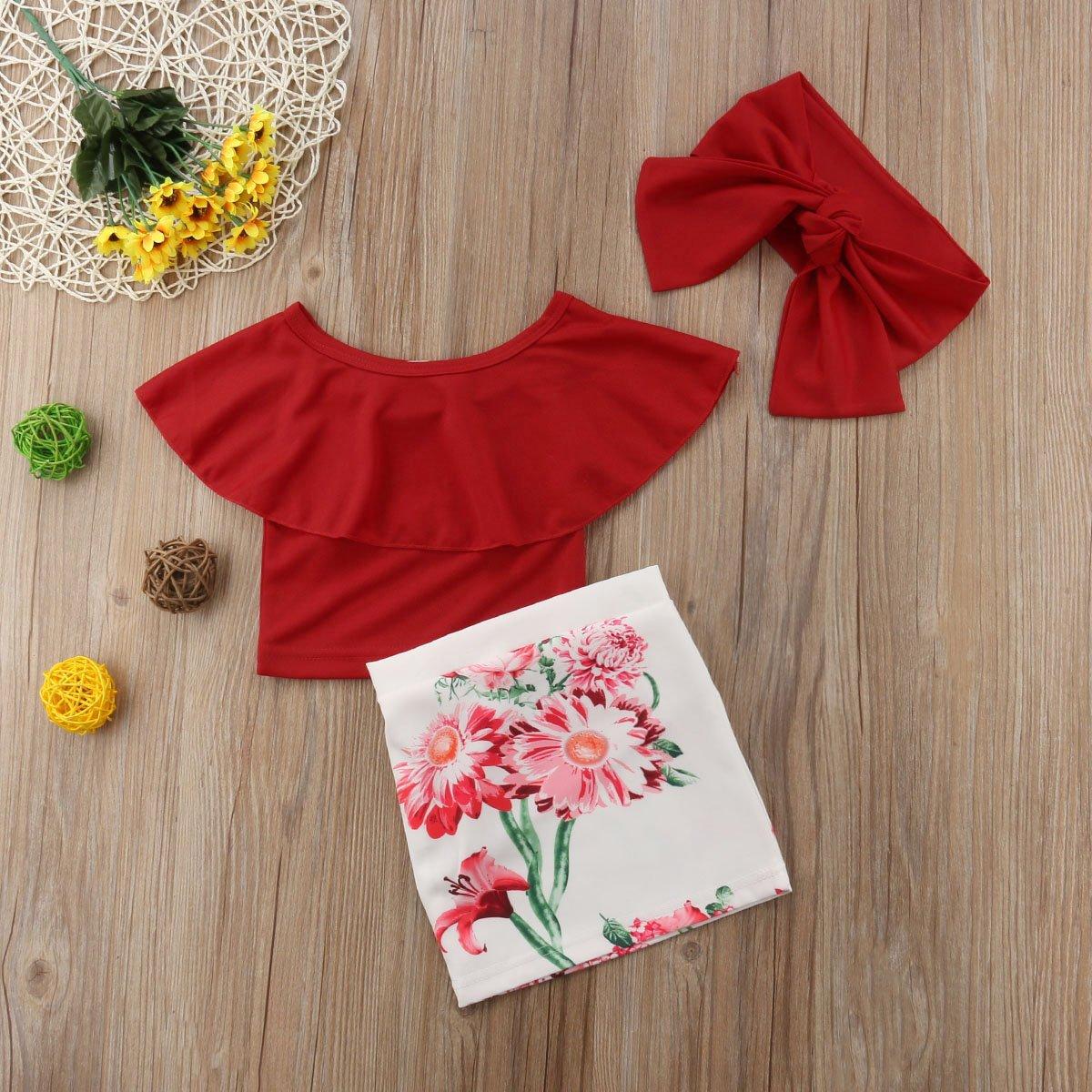 3tlg Outfit Baby M/ädchen Schulterfrei Lotusblatt Kragen Kurze Tops Blumen Rock Taschenrock mit Stirnband