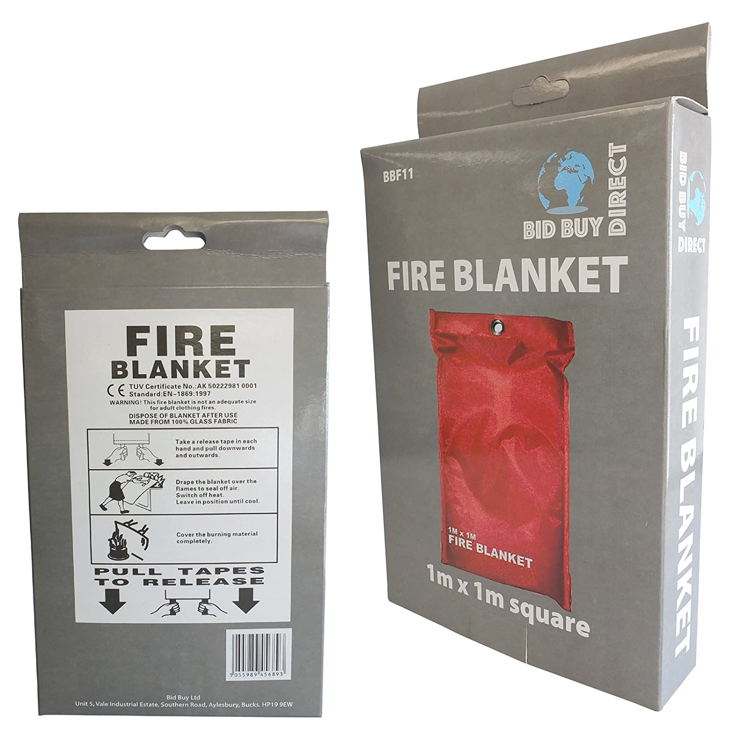 NEW FIRE BLANKET - 1M x 1M - IDEAL FOR KITCHENS, HOMES & CARAVANS Bid Buy Direct