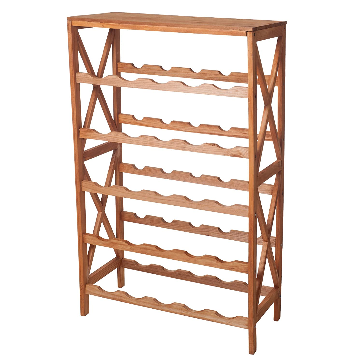 amazoncom lavish home classic rustic wood 25bottle wine rack brown kitchen u0026 dining