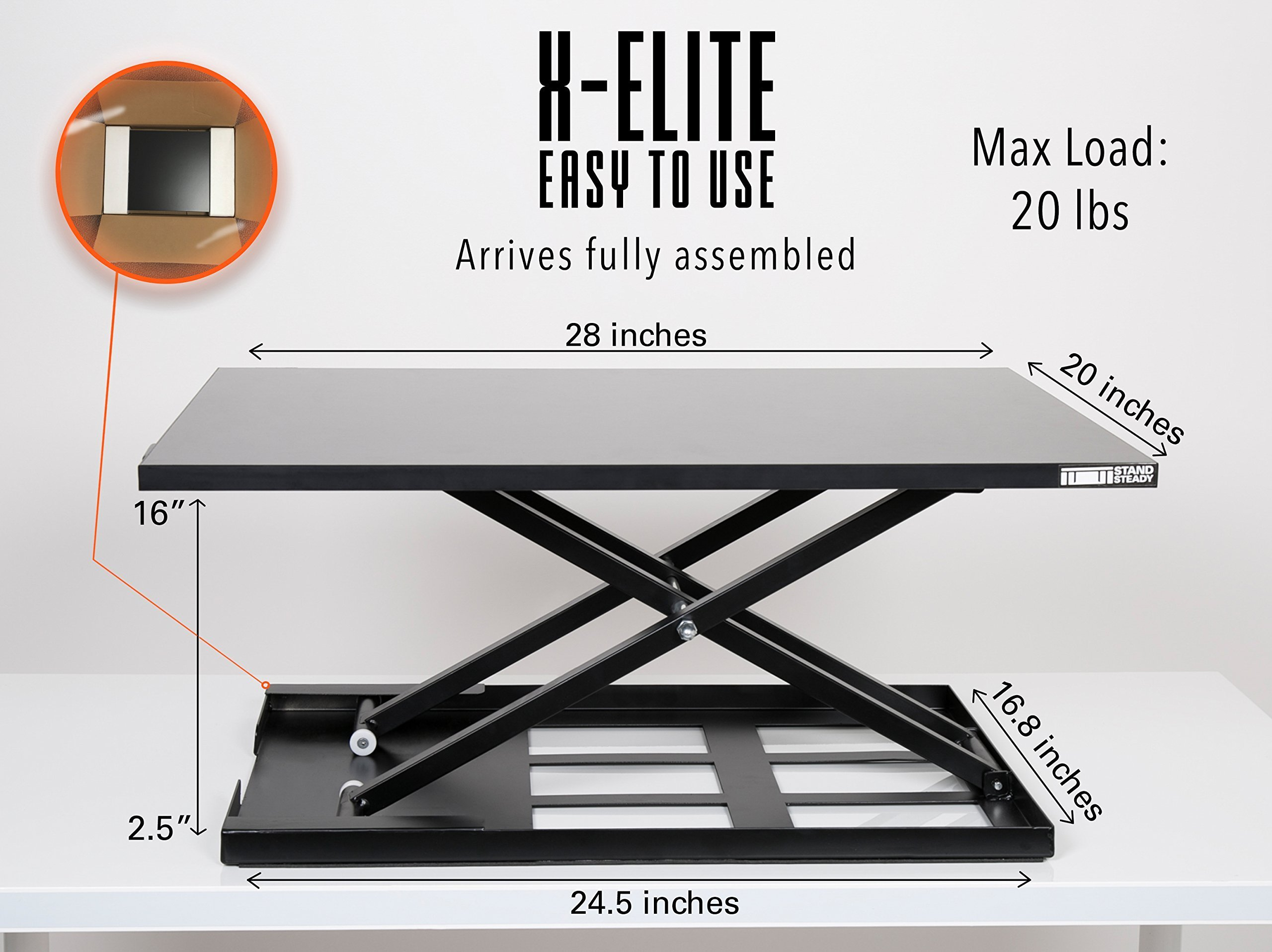 Standing Desk - X-Elite Pro Height Adjustable Desk Converter - Size 28in x 20in Instantly Convert any Desk to a Sit / Stand up Desk (Black) by Stand Steady (Image #6)