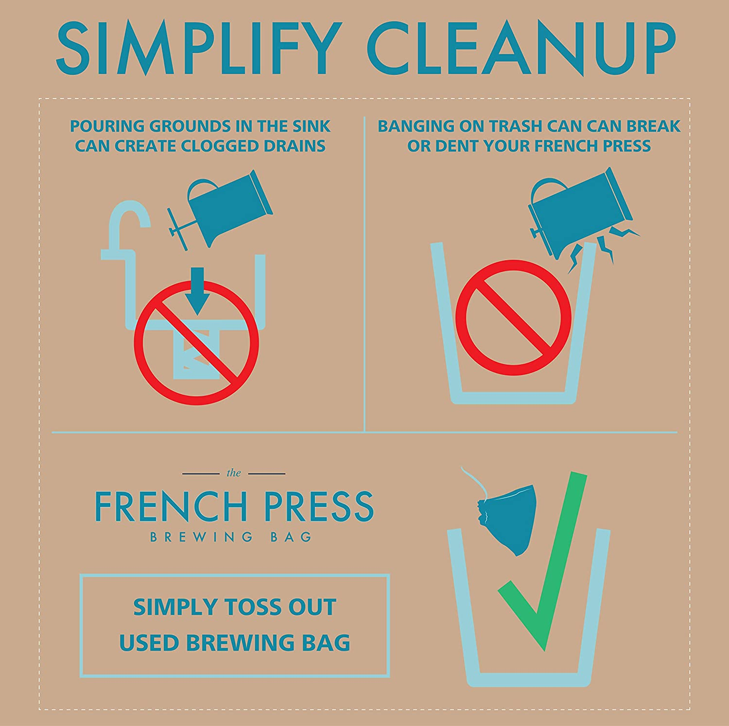 """The Original French Press Brewing Bags - 50 Easy Fill Fine Mesh Disposable Coffee Filters For Your French Press Coffee Maker - Perfect for Mason Jar Cold Brew, Beer Hops, Tea, Spice Sacks 6""""x4"""" White"""
