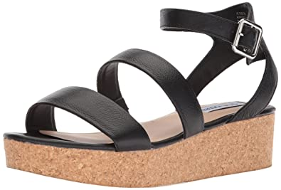 7d9824cb117c Steve Madden Women s Kirsten Cork Platform Wedge Sandal Black Leather 5.5  ...