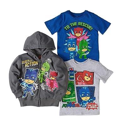 PJ Masks Hoodie Combo Set - 1 Hoodie & 2 PJ Masks T-Shirts Featuring