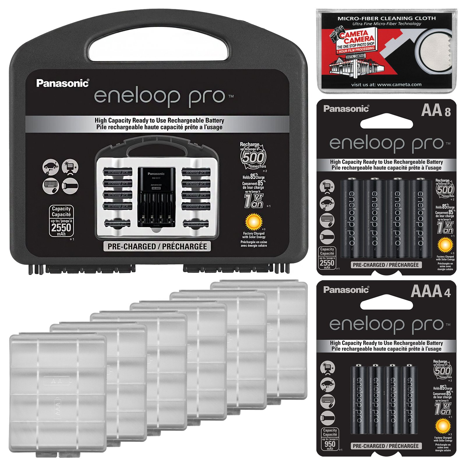 Panasonic eneloop Pro Charger with (8) AA and (2) AAA Batteries & Case Set + (8) Extra AA Batteries + (4) Extra AAA Batteries + (6) Battery Cases + Kit