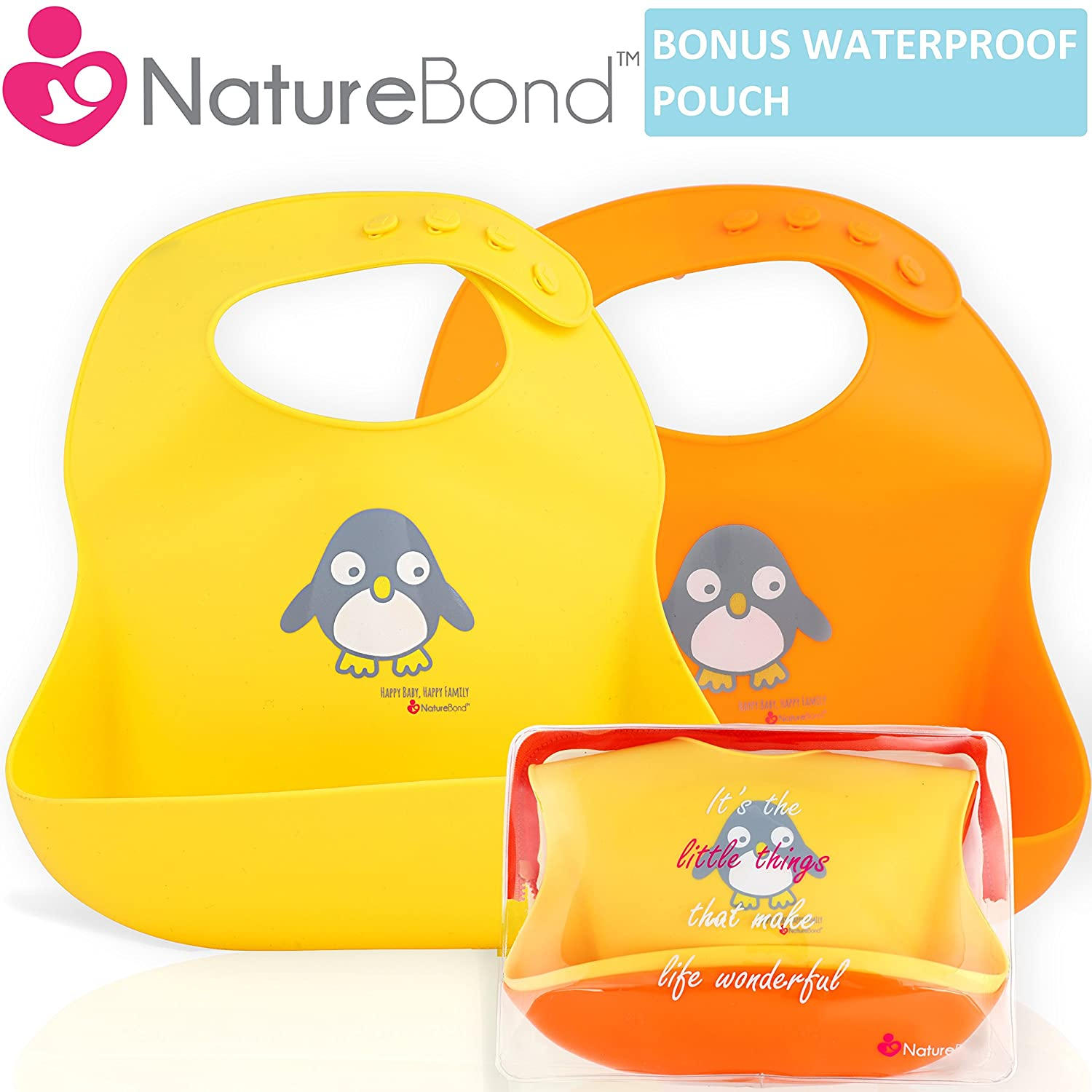 NatureBond Waterproof Silicone Baby Bibs For Babies & Toddlers (2 PCs) | FREE Waterproof Pouch | Wipes Clean Easily, Soft, High Quality, Unisex, Adorable | Perfect Baby Shower Gift NB006