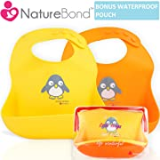 NatureBond Waterproof Silicone Baby Bibs for Babies & Toddlers (2 PCs) | Free Waterproof Pouch | Wipes Clean Easily, Soft, Unisex, Adorable in Appetite Stimulating Colors