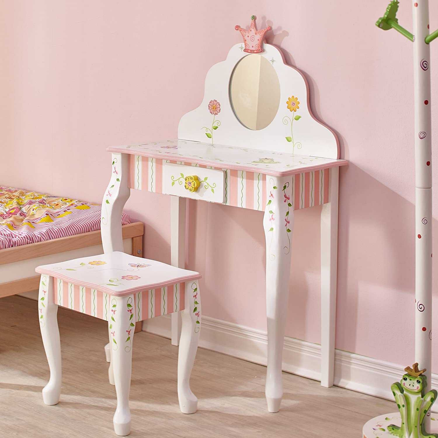 Stool but not sure of the bed do you like it too 2 princess bedroom - Amazon Com Fantasy Fields Princess Frog Thematic Kids Vanity Table And Stool Set With Mirror Imagination Inspiring Hand Crafted Hand Painted Details