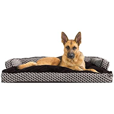 Furhaven Pet Dog Bed | Plush Faux Fur & Décor Comfy Couch Pillow Cushion Traditional Sofa-Style Living Room Couch Pet Bed w/ Removable Cover for Dogs & Cats, Diamond Brown, Jumbo