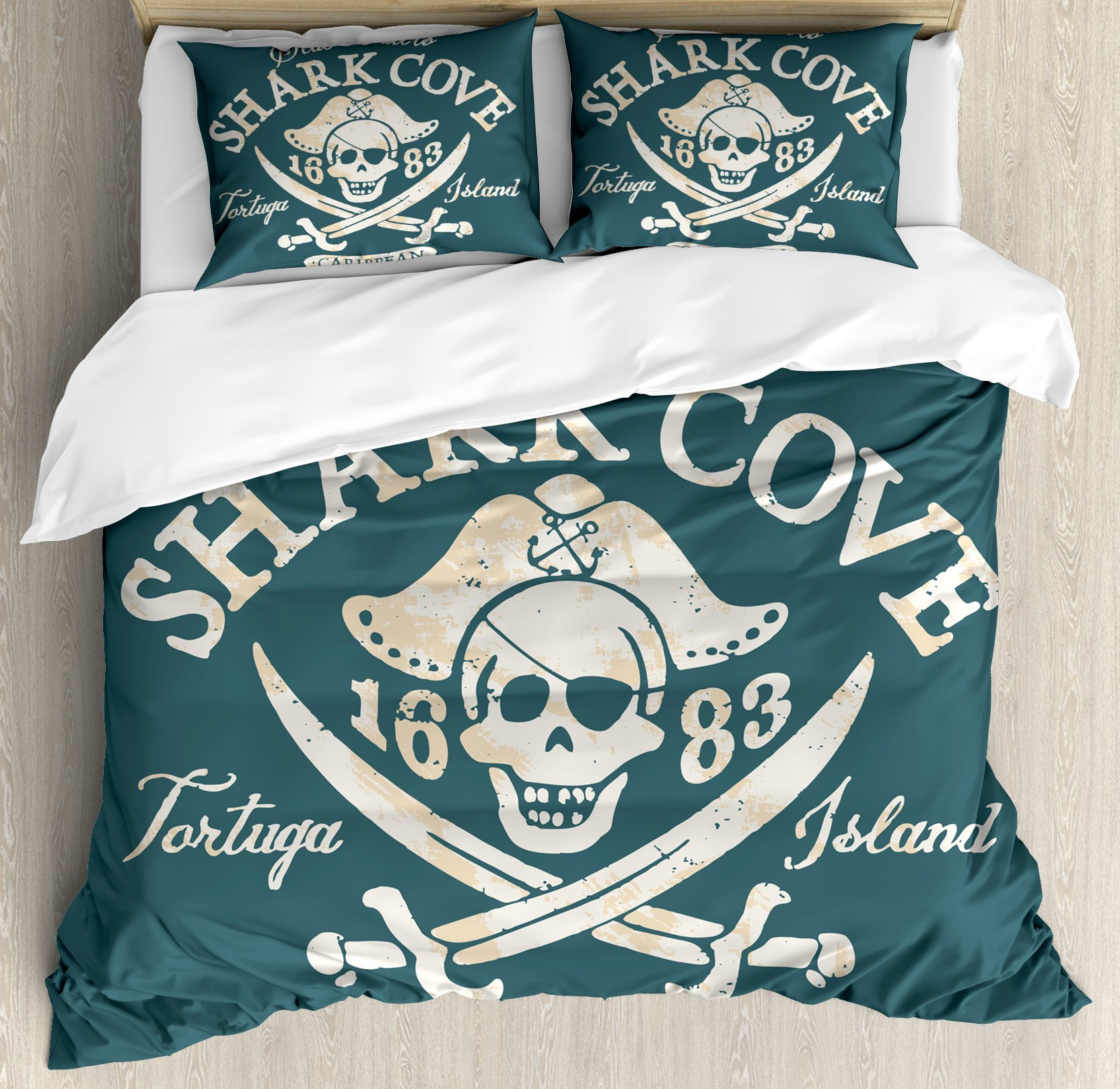Pirate Queen Size Duvet Cover Set by Ambesonne, Shark Cove Tortuga Island Caribbean Waters Retro Jolly Roger, Decorative 3 Piece Bedding Set with 2 Pillow Shams, Slate Blue White Light Mustard