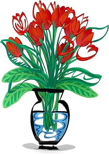 Red Tulip Vase,3D Flower Sculpture,Handmade Metal Tulip Flowers in a vase, Metal Art Decor,Office Decor, Metal Sculpture