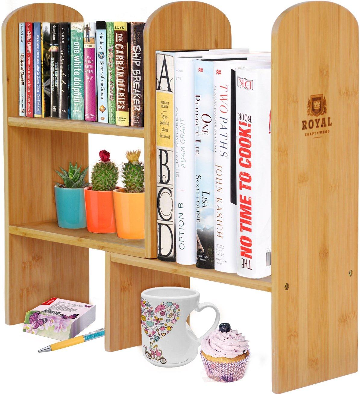 Expandable Natural Bamboo Desk Organizer Accessory - Adjustable Desktop Shelf Rack - Multipurpose Display for Office (Books) | Kitchen Storage (Spice Rack) | Flowers and Plants. by Royal Craft Wood