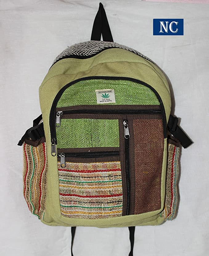 Amazon.com: Multi Pocket Hemp and Denim Canvas Backpack - 100% Pure Hemp (THC FREE) Backpack Handmade Nepal with Laptop Sleeve - Fashion Cute Travel School ...