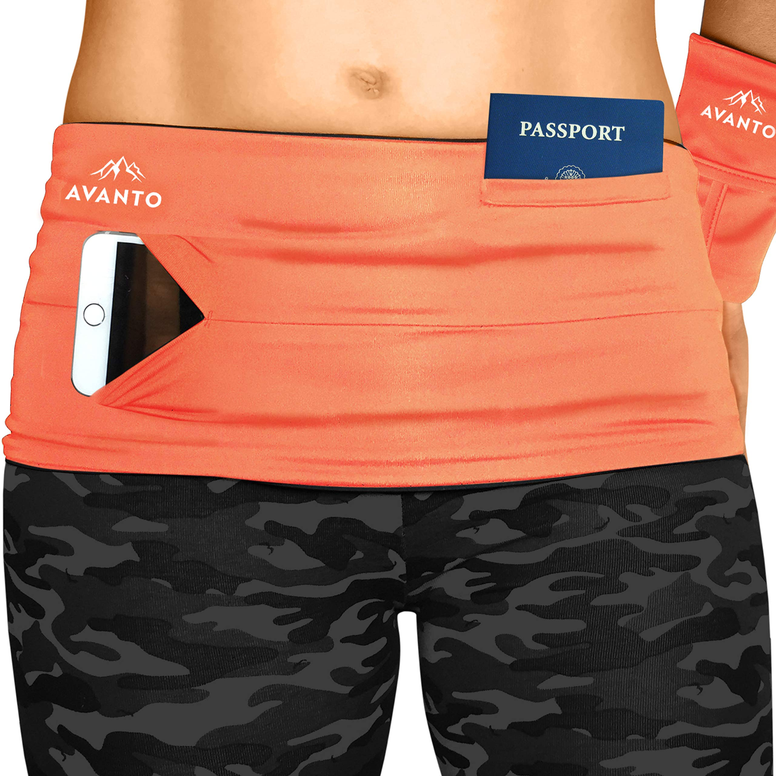AVANTO Slim Fit Travel Money Belt with Free Wrist Wallet, Running Belt, Waist and Fanny Pack for Travel, for Women and Men, Comfortable Like Second Skin, Orange, XXL by Avanto Lifestyle