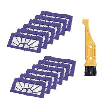 turpow aspiradora filtro 12 pcs para Neato Robotic mascotas y alergia filtro Pack XV-21 (945 - 0048) Filtro de filtro, incluye cepillo de limpieza ...