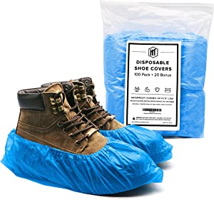 The HT Brand   CPE Disposable Shoe & Boot Covers in Resealable Bag   100 Pack + 20 Bonus (60 Pairs)   Multi-Use   Durable   Waterproof   Protects   Non Slip   15 inches in Length