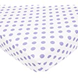 """TL Care 100% Cotton Percale Fitted Crib Sheet for Standard Crib and Toddler Mattresses,  White with Lavender Dot, 28"""" x 52"""""""