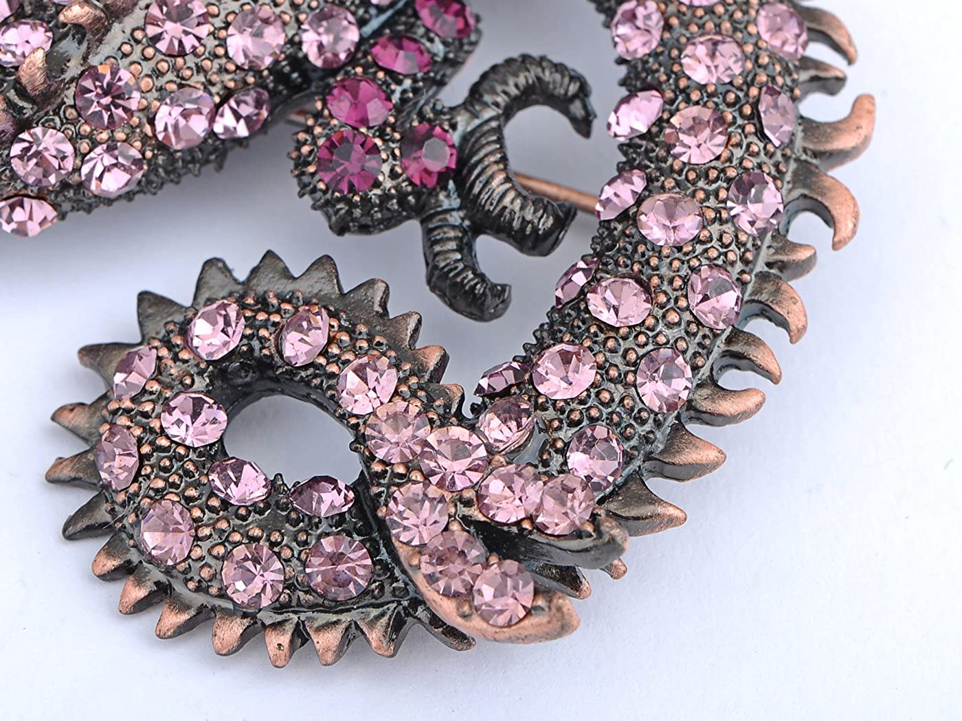 Alilang Antique Rust Gunmetal Fantasy Renaissance Medieval Dragon Pink Crystal Rhinestone Brooch Pin