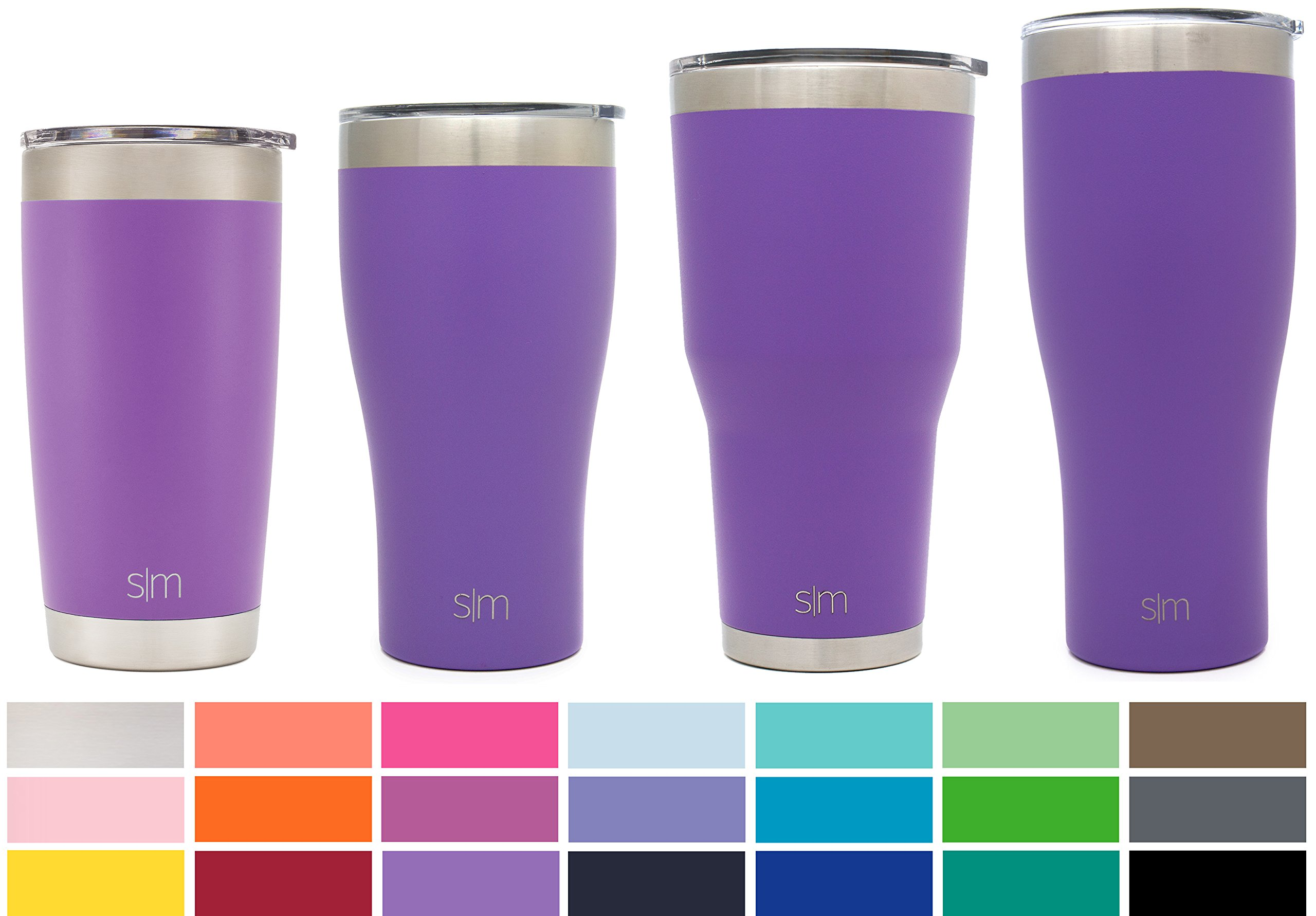 Simple Modern 20oz Cruiser Tumbler Travel Mug - Vacuum Insulated Water Coffee Cup Double Wall - Hydro 18/8 Stainless Steel Flask Thermos - Lilac