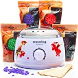 Wax Warmer (Heater) Hair Removal Kit The Greatest Value For The Money with 4 Packs of Hard Wax Beans (Beads), 10 Wooden Spatulas