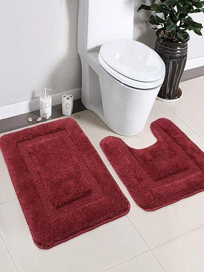 Saral Home Soft Cotton Anti Slip Bathmat Set with Contour- (45x60 cm & 45x50 cm), Maroon
