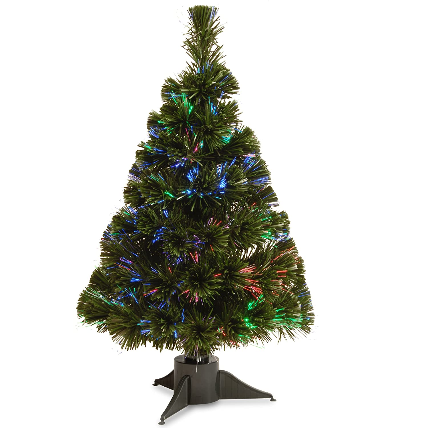 National Tree 24 Inch Fiber Optic Ice Tree In Green Stand With Multicolor  Battery Operated LED