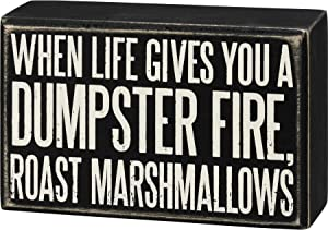 Primitives by Kathy 107454 Box Sign - Roast Marshmallows, 5.5x3.5 inches, Black, White