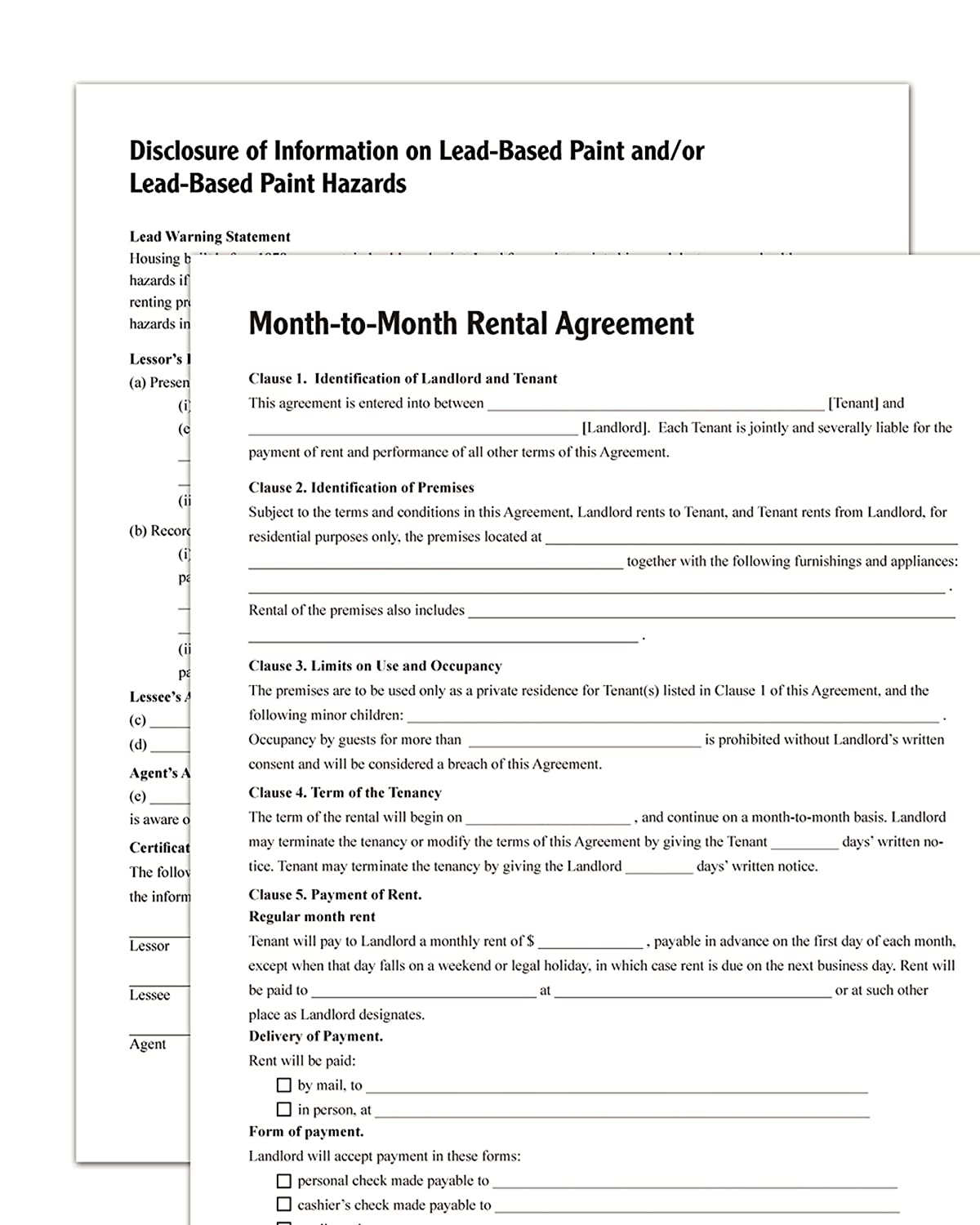 Adams Month To Month Rental Agreement Forms And Instructions Lf255