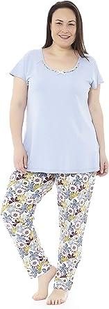 Pijama Mujer Verano Tallas Grandes. Varios Estampados. Manga Corta y pantalón Largo Tallas Grandes. Mabel Big&Beauty Tallas 50 a la 70: Amazon.es: Ropa y accesorios