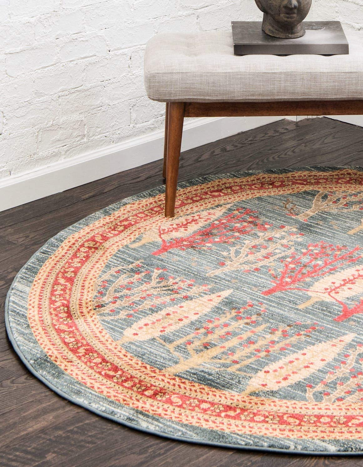 Unique Loom Fars Collection Tribal Modern Casual Blue Round Rug 3 3 x 3 3