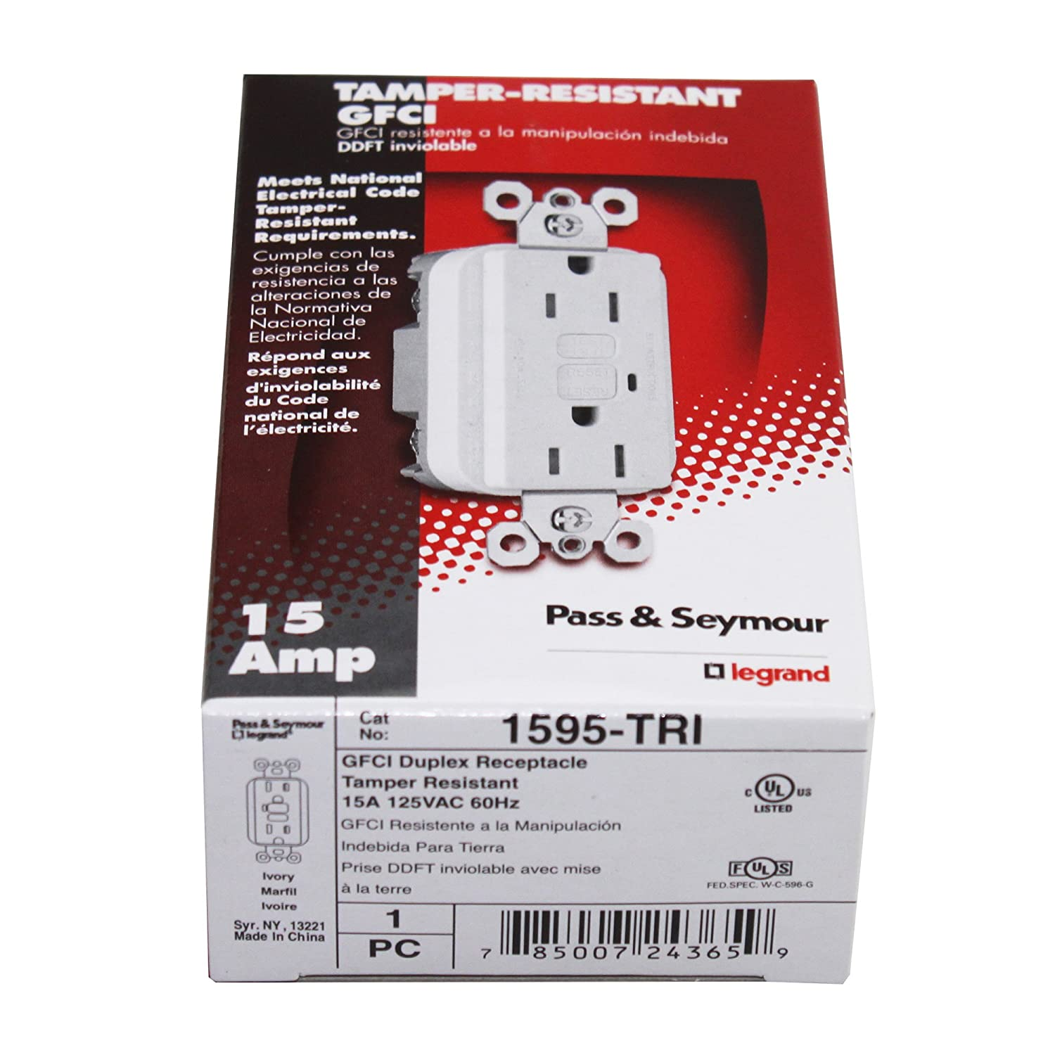 Pass Seymour Legrand 1595 Tri 15a 125v Tamper Resistant Gfci Ivory Electrical Outlets Light Switches Gfi Outlet Receptacle