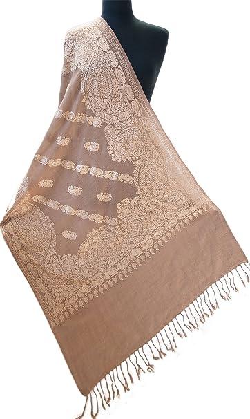 Heritage Trading mujer La harina de avena suave Embroide Mantón de lana abrigo de lana para Paisely Pashmina medio la harina de avena bronceado beige: ...