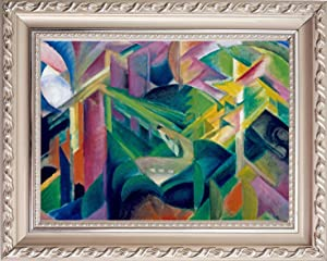 Canvas Print with Ornate Wood Frame - Deer in a Monastery Garden - by Franz Marc