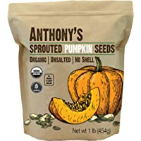 Anthony's Sprouted Pumpkin Seeds, 1 lb, Gluten Free, Unsalted, No Shell, Non GMO, Keto Friendly
