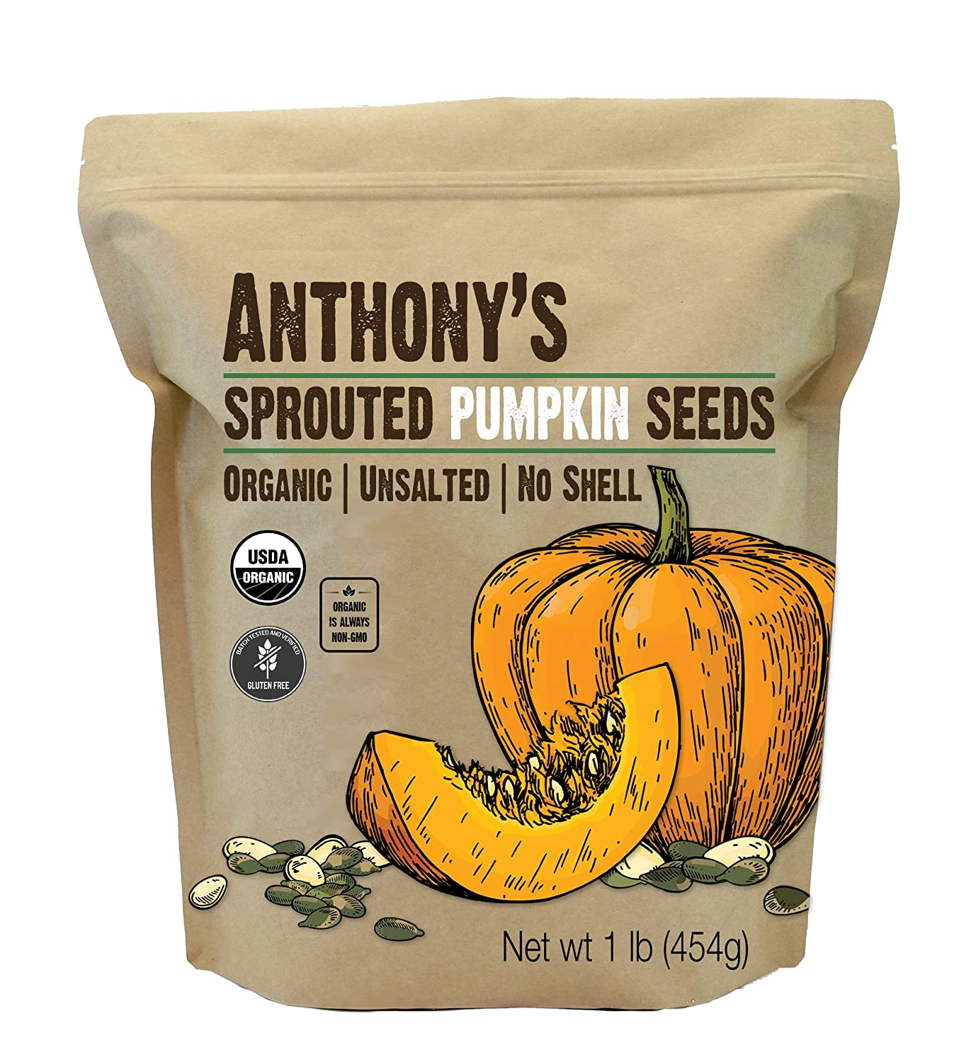 Anthony's Sprouted Pumpkin Seeds, 1 lb, Gluten Free, Unsalted, nicht Shell, Non GMO, Keto Friendly