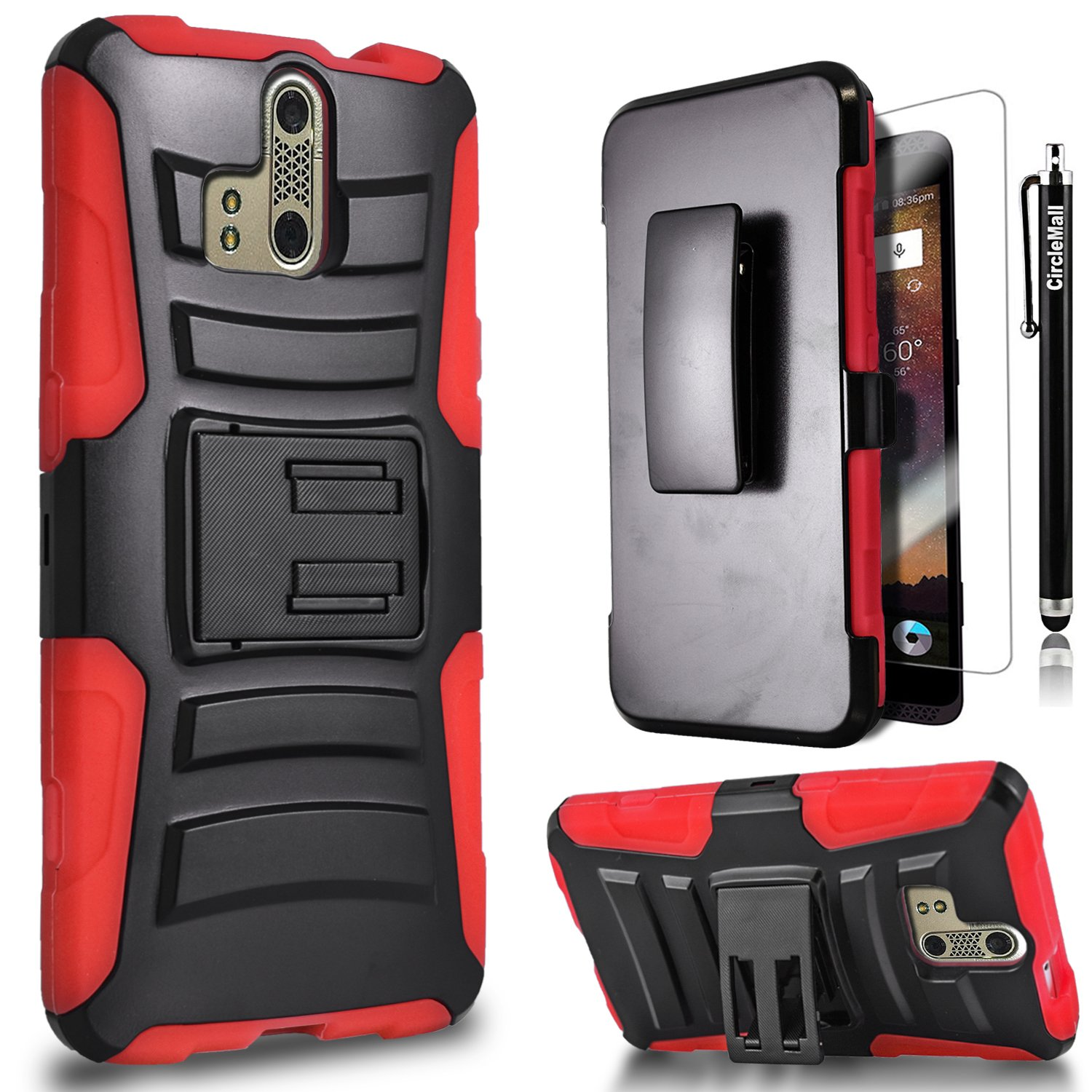 . ZTE Blade V8 Pro Hybird Case, Holster Case Kickstand with Premium Screen Protector