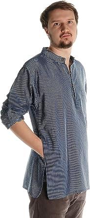 HEMAD/Billy Held - Camisa casual - Rayas - cuello mao - Manga Larga - para hombre