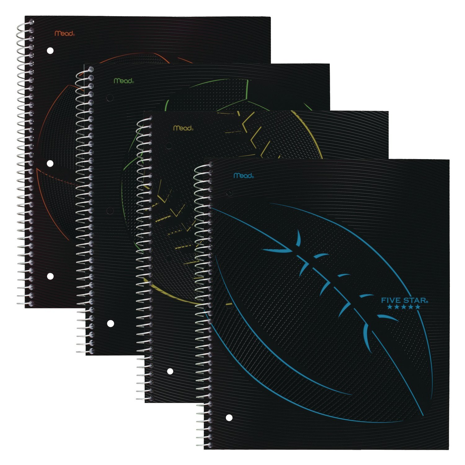 Five Star Spiral Notebooks, 1 Subject, College Ruled Paper, 100 Sheets, 11'' x 8-1/2'', Sports, 4 Pack (38206)