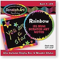 Melissa & Doug Scratch Art Caja de Mini Notas con Diseños Arco Iris, Artes y Manualidades, Lápiz de Madera (125 Unidades)