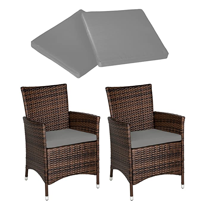 13995ad2eac0 TecTake 2 x Poly rattan garden chairs ALUMINIUM FRAME armchair set +  cushions + 2 sets for exchanging the upholstery, stainless steel screws -  different ...