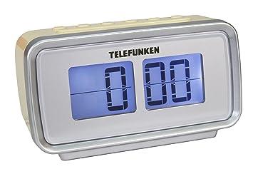 Telefunken R1002 - Reloj Despertador (Radio FM, sintonizador PLL, Doble Alarma, Temporizador, Pantalla LCD), Color Crema: Amazon.es: Electrónica