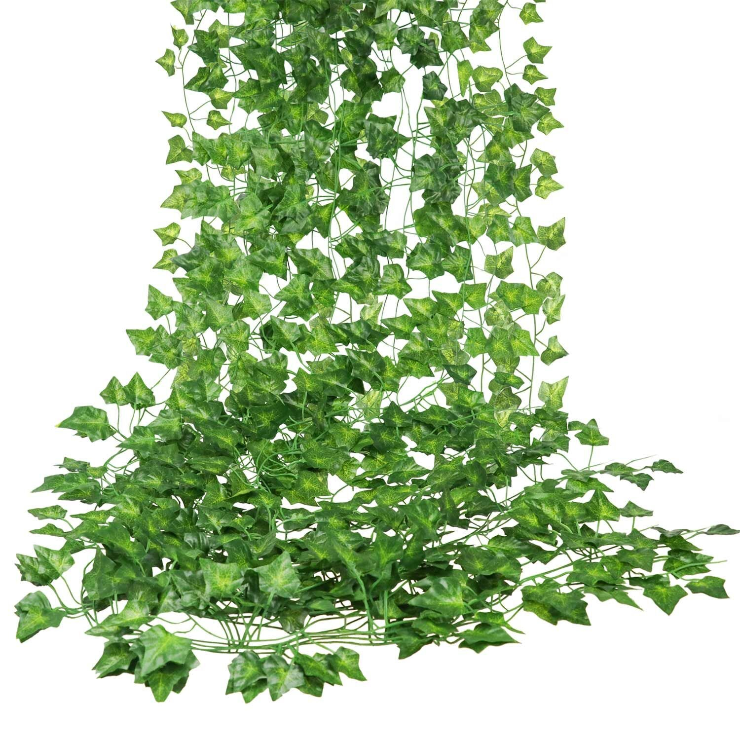 E-HAND Artificial Hanging Vine Leaf Garland Ivy Flower Fake Silk Leaves Greenery Wedding Kitchen Wall Garden Foliage Home Outdoor Party Festival Decor Wholesale 84 Ft