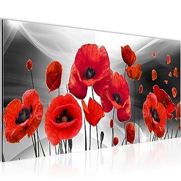 Bilder Blumen Mohnblumen Wandbild Vlies   Leinwand Bild XXL Format  Wandbilder Wohnzimmer Wohnung Deko Kunstdrucke Rot