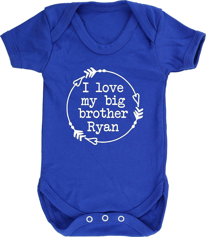 Hippowarehouse Personalised I Love My Big Brother Name HERE Baby Vest Bodysuit Short Sleeve Boys Girls