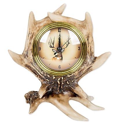 8 Inch Deer Antler Tabletop Desk Clock