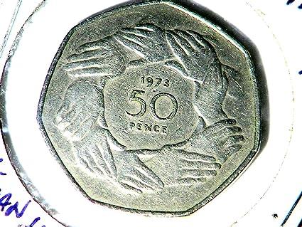 Amazon com: England 50 Pence 1973 Coin Queen Elizabeth II